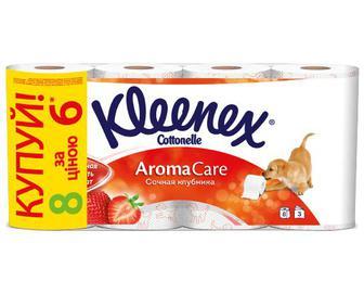 Папір туалетний Kleenex 3-шаровий «Соковита полуниця» 6+2 рулони/уп
