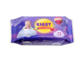 Дитячі вологі серветки Bibby, 72 шт./уп