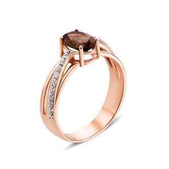 Золотое кольцо с раухтопазом и фианитами. Артикул 530010/01/1/5265 (530010/раух с)