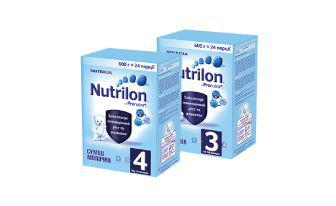 Суміш №3 з пребіотиком молочна суха або №4 молочна суха Нутрілон 600 г*24 порції