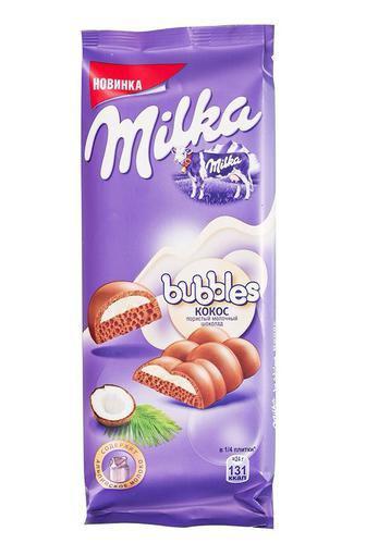 Шоколад молочний з кокосом пористий Milka Bubbles 97г