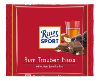 Шоколад молочний Ritter Sport з ямайським ромом, родзинками та горіхами, 100г