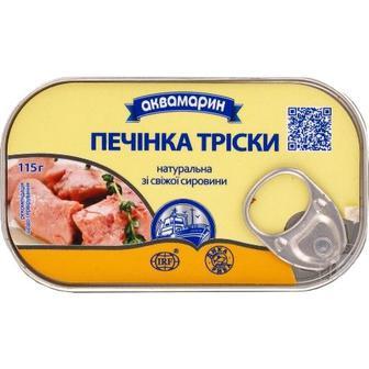 Рибні консерви Аквамарин Печінка тріски 115г