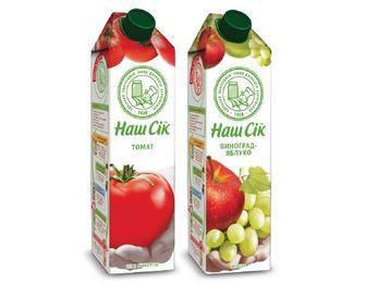 Сік Нектар виноградно-яблучний, сік томатни Наш Сік, 0,95 л