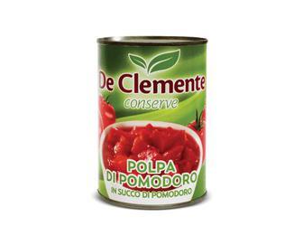 Томати De Clemente, очищені в томатному соку різані, 400 г
