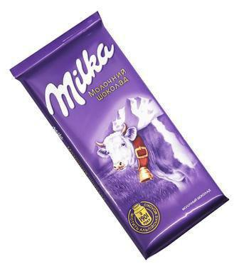 Шоколад  Milka з наповнювачем на обранi позицii 87 г, 90 г та 100 г