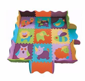 Дитячий килимок-пазл Веселий зоопарк 122см*122см