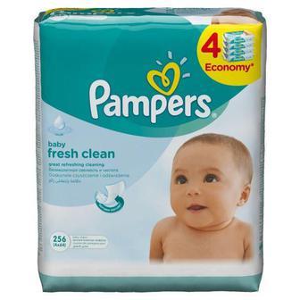 Cерветки вологі Pampers Fresh Clean дитячі Сменный блок 4х64 256 шт