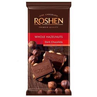 Шоколад екстрачорний з цілим лісовим горіхом 90г