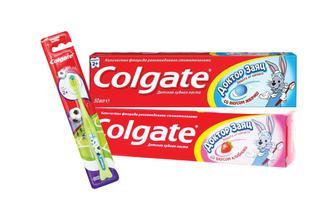 Зубна паста та щітка дитяча Полуниця, жувальна гумка Колгейт