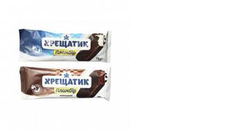 Морозиво пломбір білий, шоколадний у глазурі Хрещатик, ХЛАДИК, 75г