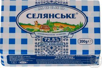 Масло Селянське солодковершкове несолоне 72,5% 200г
