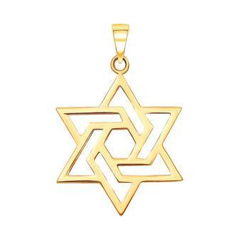 Золотая подвеска Звезда Давида