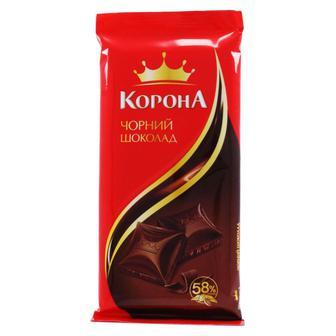 Шоколад Корона чорний, 85г, Шоколад чорний, молочний, білий пористий, Корона, 90 г