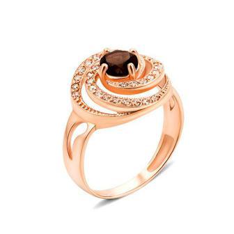 Золотое кольцо с раухтопазом и фианитами. Артикул 530044/01/0/5315 (530044/раух с)