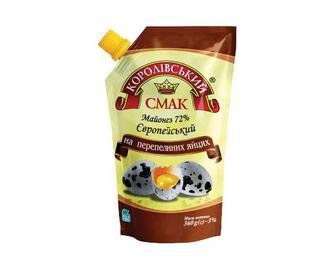Майонез Королівський смак, Європейський на перепелиних яйцях, 72% жиру, 360 г