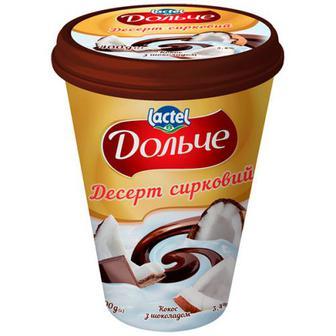 Десерт Lactel Дольче Кокос з шоколадом 3,4% 400г