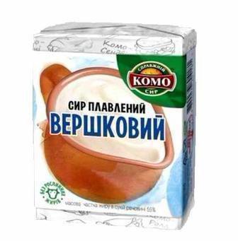 Сир плавлений Вершковий, З зеленню та часником 55% 90г Комо