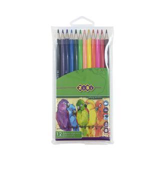Олівці кольорові, 12 кольорів, ПВХ в пеналі ZIBI