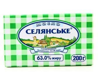 Масло Селянське 63%, Селянське, 200г