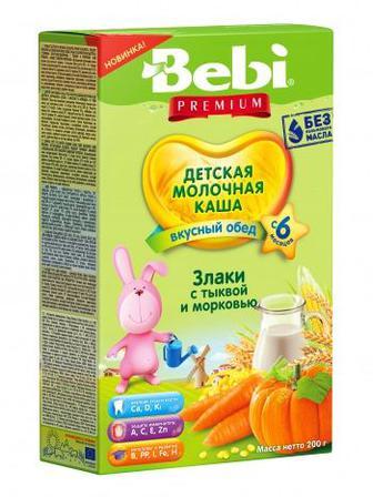 Каша Bebi Премиум молочная злаки с тыквой и морковью 200г