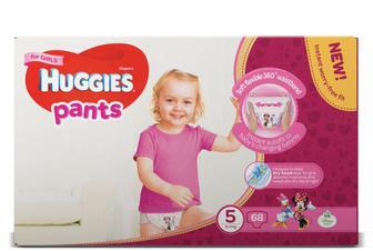 Підгузки-трусики Huggies для дівчаток 5 (12–17 кг) 68 шт.