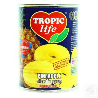 Ананас кільцями в сиропі Tropic Life 580 мл