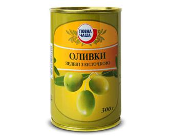 Оливки зелені з кісточкою «Повна Чаша»® 300г