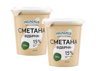 "Сметана ""Відбірна"" 15%, Молокія, 330г"