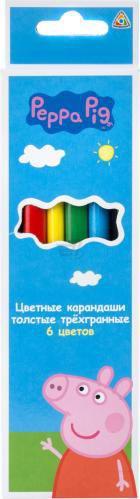 Олівці кольорові 6 шт. товсті тригранні Свинка Пеппа Peppa