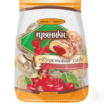 Пряники Фруктовий сад з вишневою або з абрикосовою начинкою Київхліб 360 г