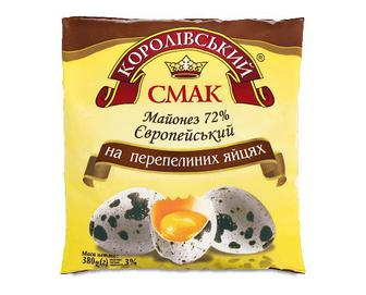 Майонез «Королівський смак» «Європейський» на перепелиних яйцях, 72%, 380г