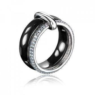 Скидка 10% ▷ Серебряное кольцо с керамикой и фианитами Артикул JRQY6270KL--W-R/12/1