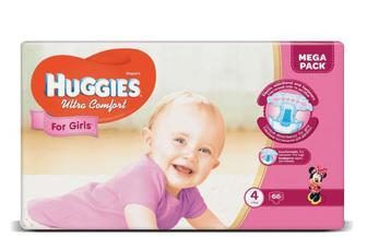Підгузки Huggies Ultra Comfort для дівчаток 4 (8-14 кг) 66 шт