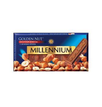 Шоколад Millennium Gold з цілим горіхом мол.100г