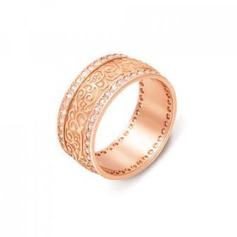 Обручальное кольцо с фианитами. Артикул 10128/2