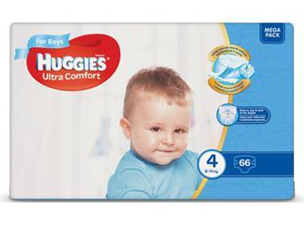 Підгузки Huggies Ultra Comfort для хлопчиків 4 (8-14 кг) 66шт./уп