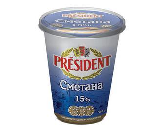 Сметана President, 15% жиру, 350г