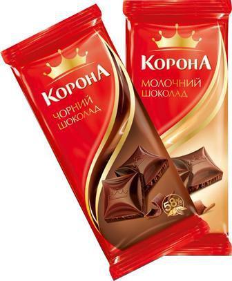 Шоколад Корона 90 г молочный и черный