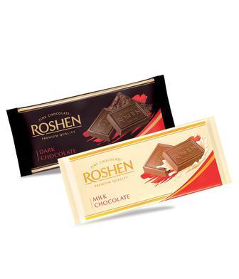 Шоколад Класік екстрачорний 56% або молочний Рошен 90г