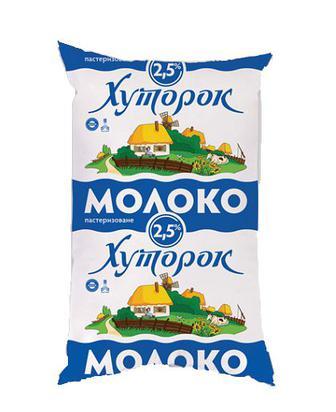 Скидка 8% ▷ Молоко Хуторок Українське паст. 2,5% 0,9л