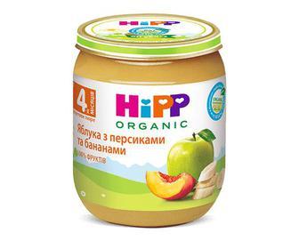 Пюре HiPP яблука з персиками та бананами, 125г