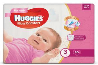 Підгузки Huggies Ultra Comfort для дівчаток 3 (5-9 кг) 80 шт./уп