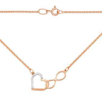 Золотое колье «Сердце и бесконечность» с бриллиантами. Артикул 53933/1.25