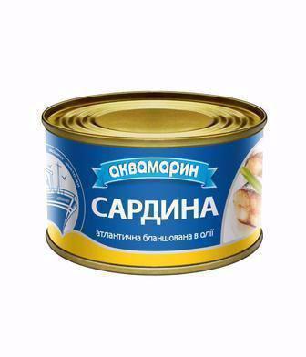 Сардина Аквамарин нат. с доб. масла, 230 г