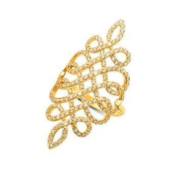 Фаланговое золотое кольцо с фианитами