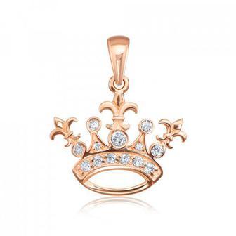 Золота підвіска «Корона» з фіанітами. Артикул 31667/01/0/926