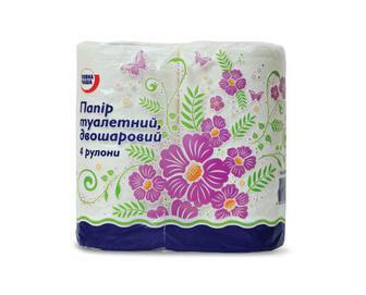 Папір туалетний двошаровий білий «Повна Чаша»® 4 рулони/уп