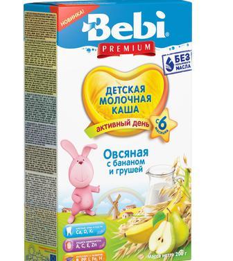 Каша Bebi Премиум молочная овсяная с бананом и грушей 200г