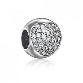 Серебряная бусина шарм с фианитами. Артикул QPBAJ01027-P/12/1